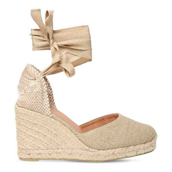 Castaner 80mm carina linen & cotton espadrilles in gold