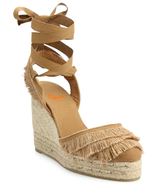 Castaner cala feathered canvas espadrille wedge sandals in camel - Feathered trim adds swing to wraparound espadrille...