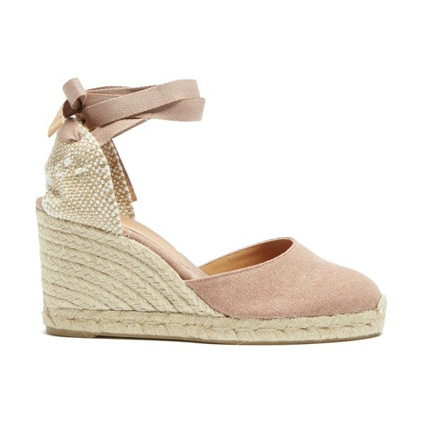 Castaner carina 80 canvas & jute espadrille wedges in dark pink