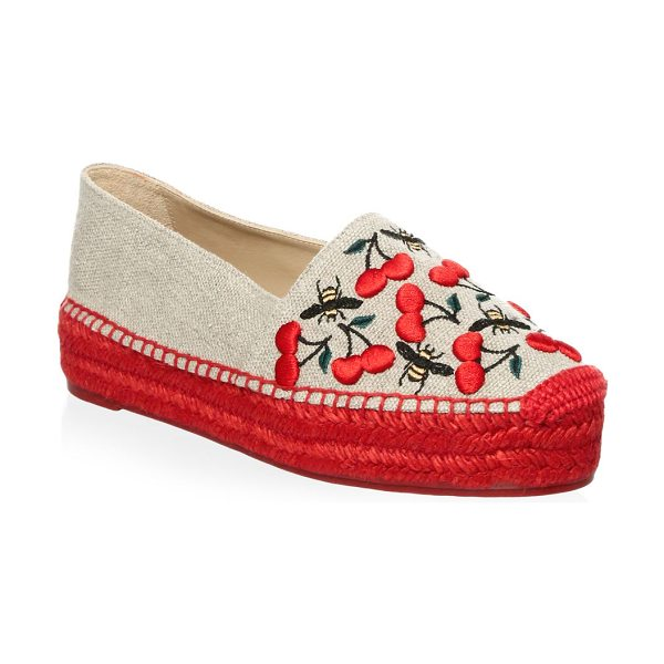 Castaner kenda cherry espadrilles in natural - Chic cotton espadrilles finished with embroidered...