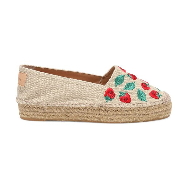 Castaner kenda embroidered platform slip-on espadrilles in natural