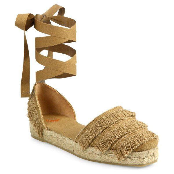 Castaner phoebe feathered canvas d'orsay espadrille flats in camel - Feathered trim adds swing to wraparound espadrilles....