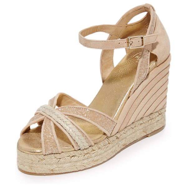 Castaner wedding sparkle crisscross wedge espadrilles in nude - Metallic accents and sparkling glitter lend a...