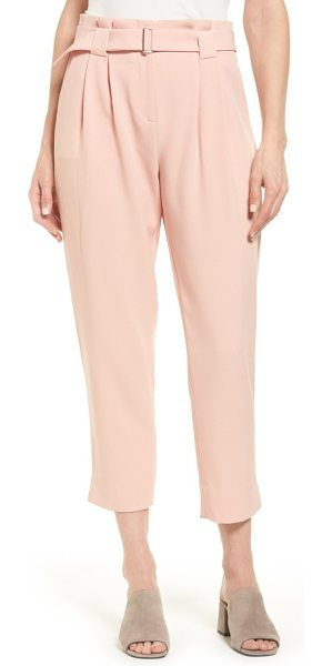 Catherine Catherine Malandrino arturo belted crop pants in mellow rose - A pleated paperbag waist creates a slimming look and...