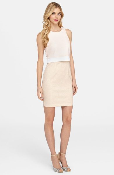 CATHERINE CATHERINE MALANDRINO styles mock two-piece dress in rose/ khaki/ blanc - Get the trend-right look of a cropped top and slim skirt...