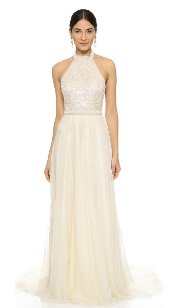 Catherine Deane amelie dress in oyster/vanilla - Intricate, tonal beading accents the mesh bodice of this...