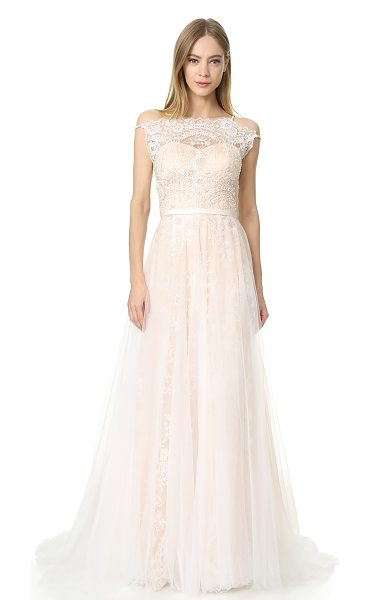 Catherine Deane harlow gown in oyster/champagne - This ethereal Catherine Deane gown is rendered in airy...
