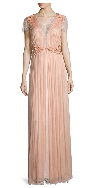 Catherine Deane Short-sleeve lace gown in antique rose - Catherine Deane layered French silk and tulle gown....