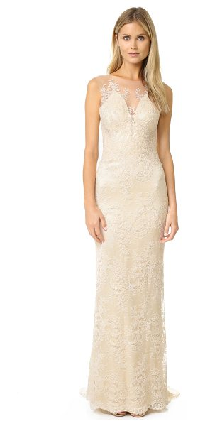 Catherine Deane yasmin dress in bridal cream - Elaborate floral embroidery over fine mesh accentuates...