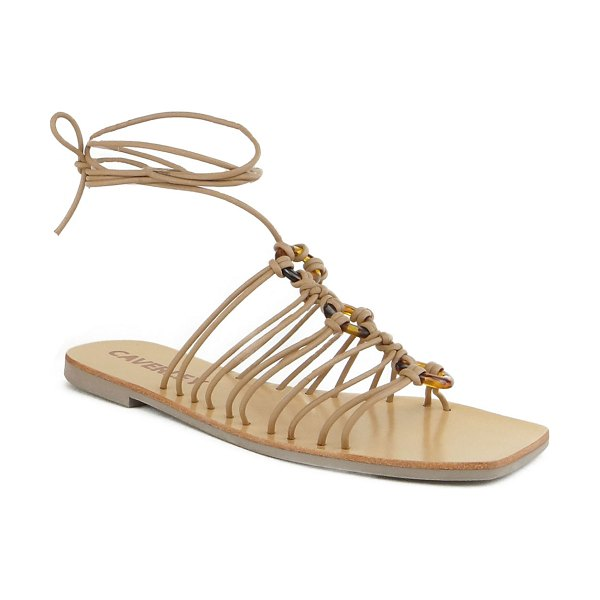 Caverley Ollie Tortoise Ring Caged Flat Sandals in tan