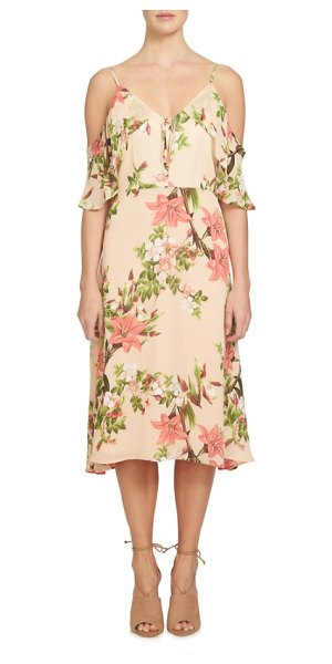 CeCe by Cynthia Steffe alice cold shoulder midi dress in whisper peach - A ruffled cold-shoulder neckline eases the flowy...