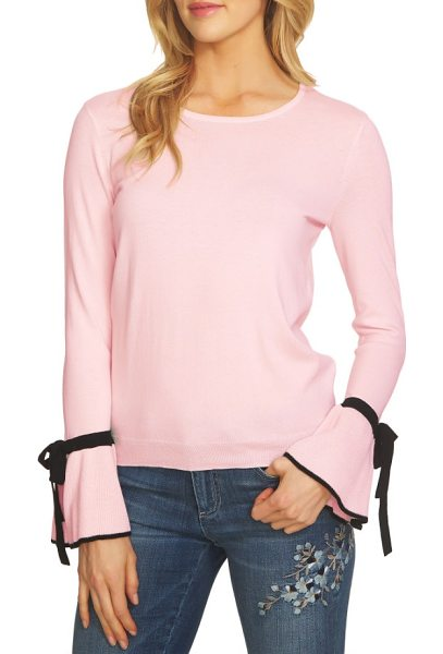 CeCe by Cynthia Steffe bow cuff sweater in light flora pink - The refined, ladylike sweater is back in season with...
