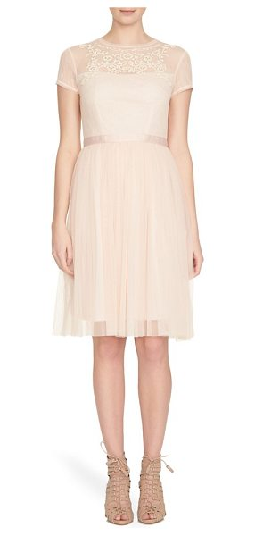 CeCe by Cynthia Steffe anjelica embellished mesh fit & flare dress in pale blush - Sweet like candy in a pale-pink hue, this timelessly...