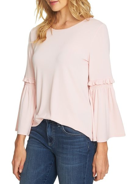 CeCe by Cynthia Steffe bell sleeve knit top in rosehip - Flouncy bell sleeves update a lightweight top cut from...