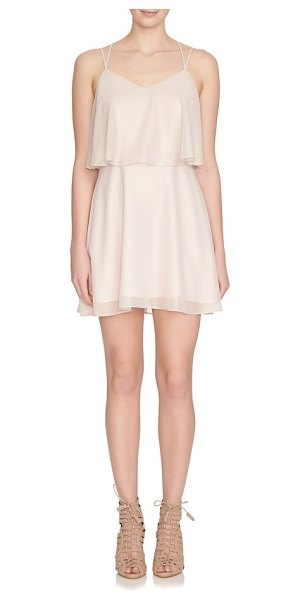 CeCe by Cynthia Steffe monroe strappy woven popover dress in pale blush - Glimmering georgette flutters in tiers on a...