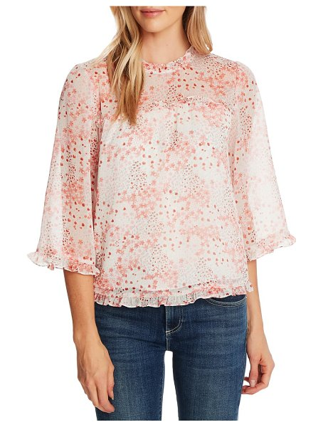 CeCe by Cynthia Steffe ditsy blossom ruffle chiffon blouse in coral