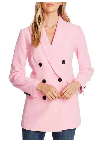 CeCe by Cynthia Steffe double breasted twill blazer in pink