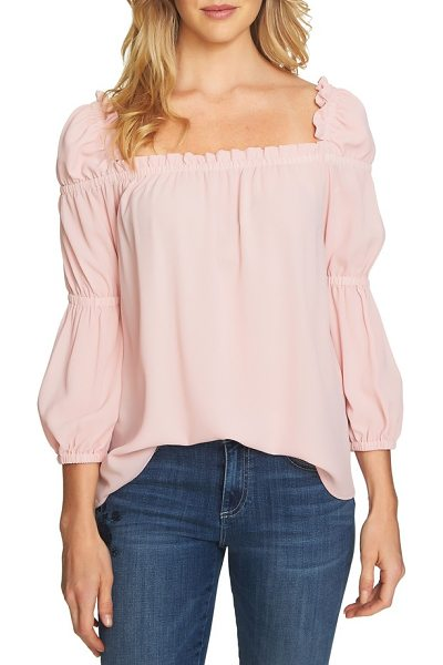 CeCe by Cynthia Steffe ruffle blouse in rosehip - A squared neck highlights the ruffled shoulders of a...