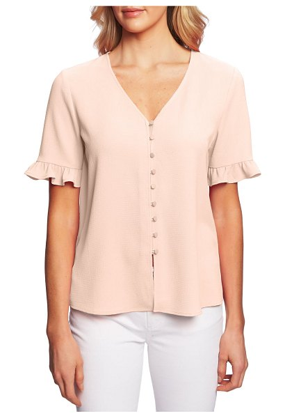 CeCe by Cynthia Steffe ruffle sleeve crepe blouse in coral