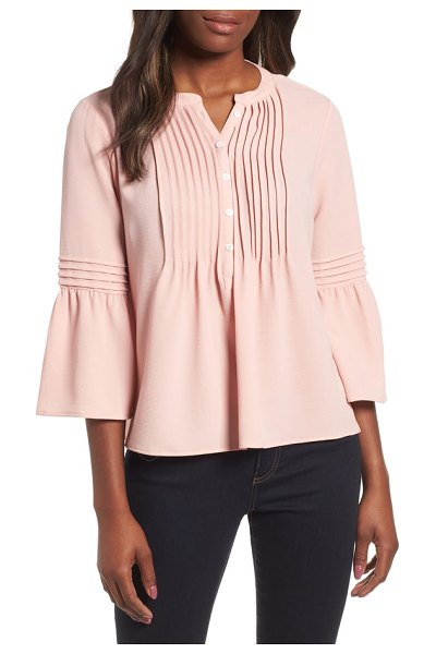 CeCe by Cynthia Steffe ruffle sleeve pintuck blouse in pink