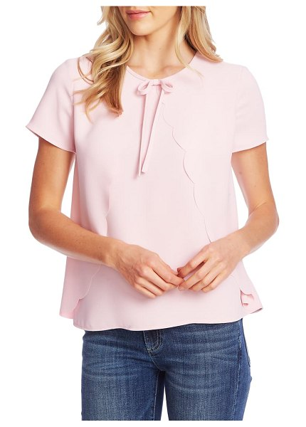 CeCe by Cynthia Steffe scalloped crepe blouse in pink