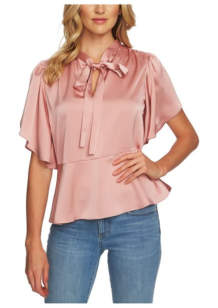 CeCe by Cynthia Steffe tie-neck satin blouse in pink