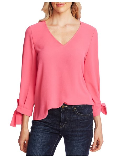 CeCe by Cynthia Steffe tie sleeve top in pink