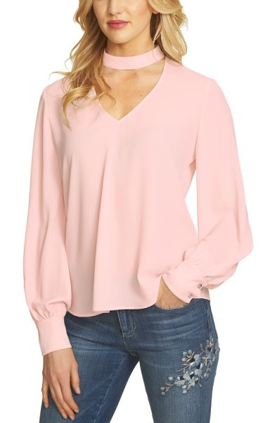 CeCe by Cynthia Steffe choker blouse in pink - Upgrade your everyday wardrobe with this light and flowy...