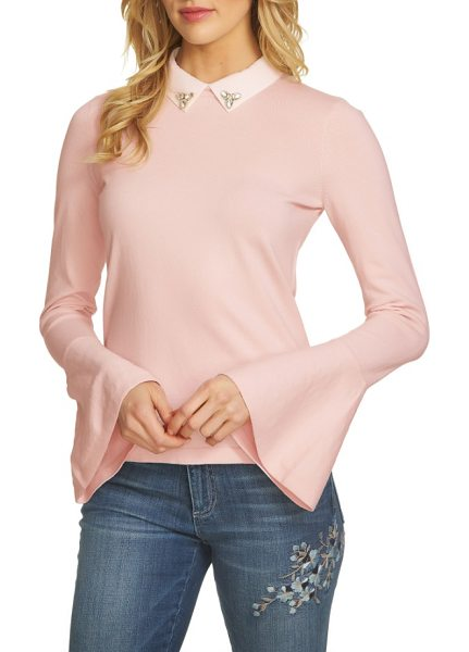 CeCe by Cynthia Steffe collar bell sleeve sweater in light flora pink - A jeweled collar adds polish and a bit of sparkle to a...