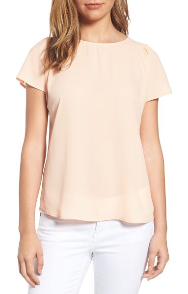 CeCe by Cynthia Steffe crepe blouse in canyon peach - A simple blouse with gently gathered short sleeves packs...