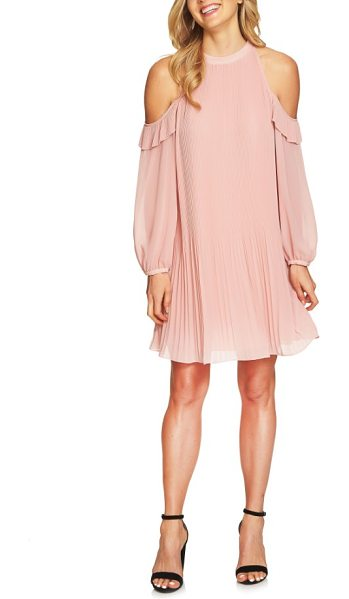 CeCe by Cynthia Steffe noelle cold shoulder chiffon trapeze dress in rose pearl - Cold-shoulder cutouts add flirty contrast to the high...