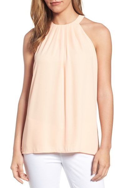 CeCe by Cynthia Steffe pleat halter style blouse in canyon peach - Neat pleats radiate from the slim halter neckline of a...