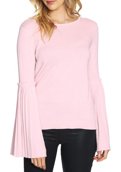 CeCe by Cynthia Steffe pleated bell sleeve sweater in iced blush - A jersey knit pullover is styled with statement-making...