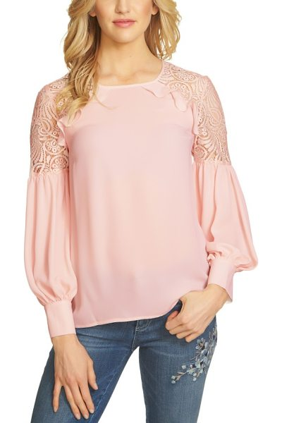 CeCe by Cynthia Steffe ruffle lace shoulder top in pink - Lace, ruffles and billowing sleeves enhance the feminine...