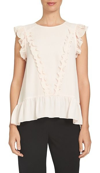 CeCe by Cynthia Steffe ruffled cap sleeve blouse in peach rose - Frothy ruffles from shoulder to hem add fresh charm to a...