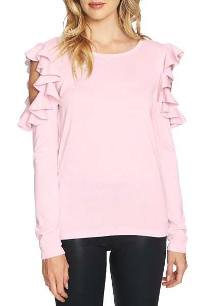 CeCe by Cynthia Steffe ruffled cold shoulder sweater in iced blush - Decadent ruffles circle the exposed shoulders of this...