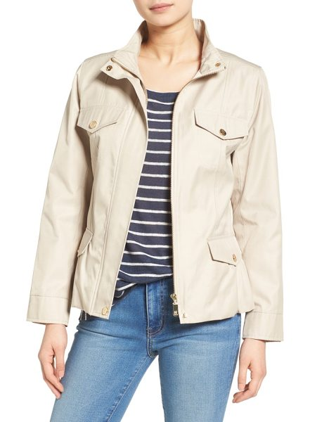 CeCe by Cynthia Steffe sophie utility jacket in sand - A slightly nipped-in shape with a flouncy peplum in back...
