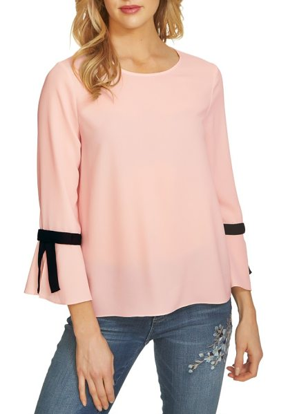 CeCe by Cynthia Steffe tie bell sleeve blouse in light flora pink - Ready to pair with workday essentials or weekend denim,...