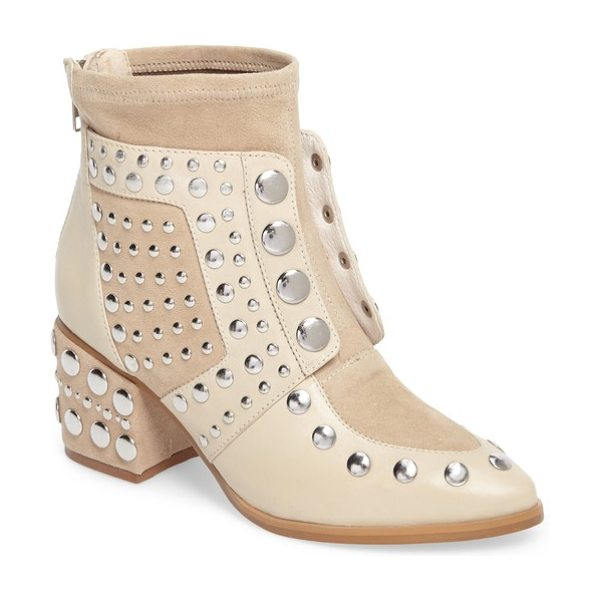 CECELIA NEW YORK michael studded boot in cream leather - Smooth rounded studs punctuate the vamp and covered...