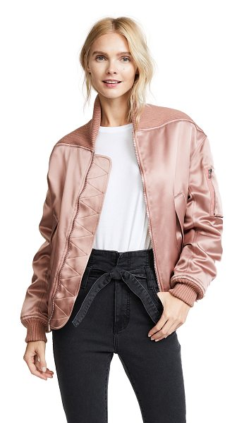 CEDRIC CHARLIER long bomber jacket - Ribbed-knit trim covers the shoulders of this lustrous...