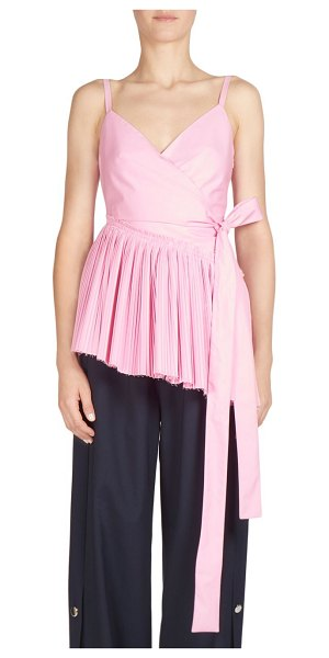 CEDRIC CHARLIER pleated cotton wrap front top - Pleated peplum top tailored from cotton. Surplice...
