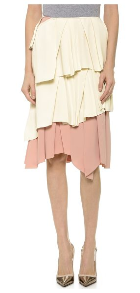 CEDRIC CHARLIER Ruffle skirt in ecru/nude - Scattered pleats add movement and texture to tiered...