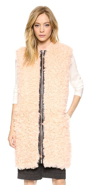Cedric Charlier Shearling vest in rose - Pale, curly shearling brings luxe charm to this striking...