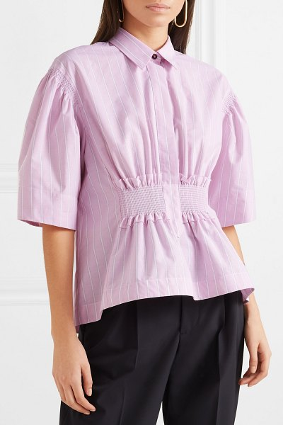 CÉDRIC CHARLIER shirred striped cotton-poplin shirt in pink - Stripes feature heavily throughout Cédric Charlier's...