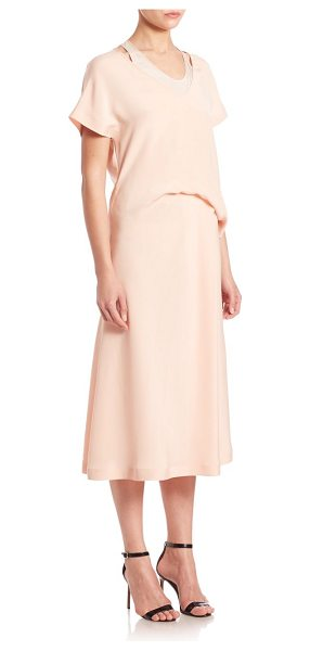 Cedric Charlier silk draped waist midi dress in pink - Effortless chic with pretty layered draping.V-neck....