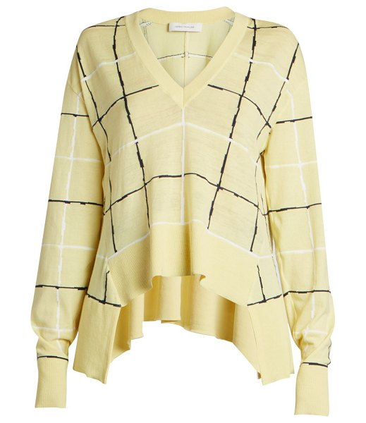 CÉDRIC CHARLIER step hem cotton knit in beige multi - Lightweight cotton knit with a graphic grid print and an...