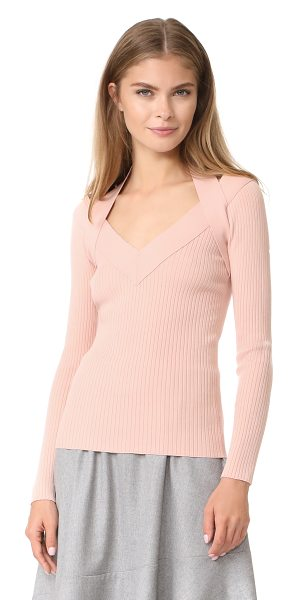 Cedric Charlier v neck sweater in light pink - A wide halter-style strap fits over the V neckline on...