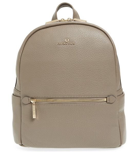CELINE DION adagio leather backpack in taupe - Clean, contemporary style is the name of the game with...