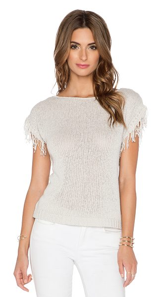 Central Park West Antwerp fringe sleeve sweater in beige - 52% cotton 48% linen. Dry clean only. Fringe sleeves....