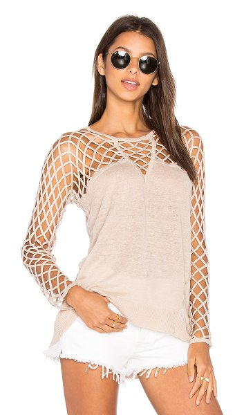 Central Park West Aurora Open Knit Sweater in tan - 100% linen. Hand wash cold. Netted shoulders and...